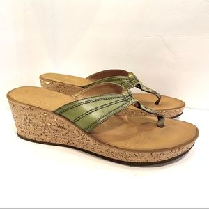Clark's Mimmey Paige Green Cork Wedge Thong Sandal